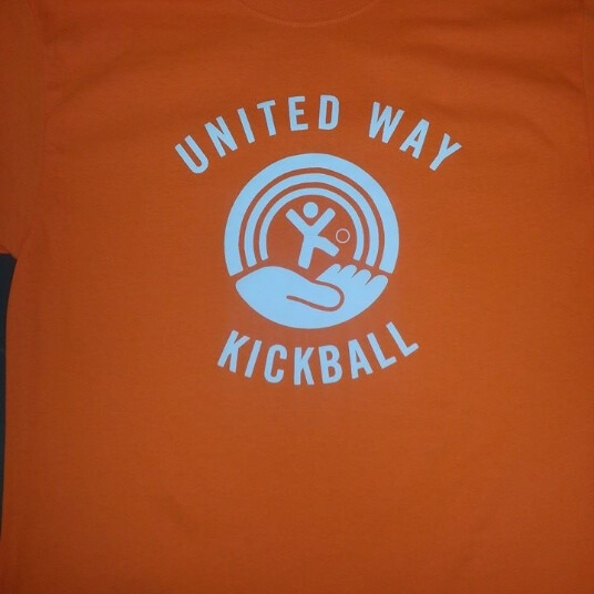 Orange United Way kickball t shirt