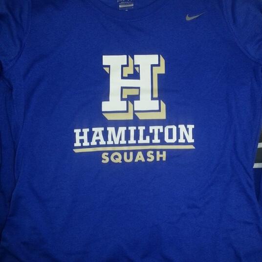 Blue Hamilton University squash t shirt