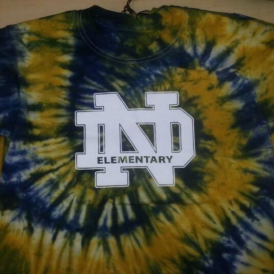 Notre Dame Elementary tie die t shirt